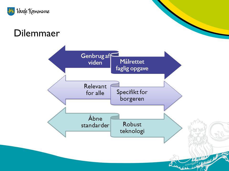 Dilemmaer Genbrug af viden Målrettet faglig opgave Relevant for alle
