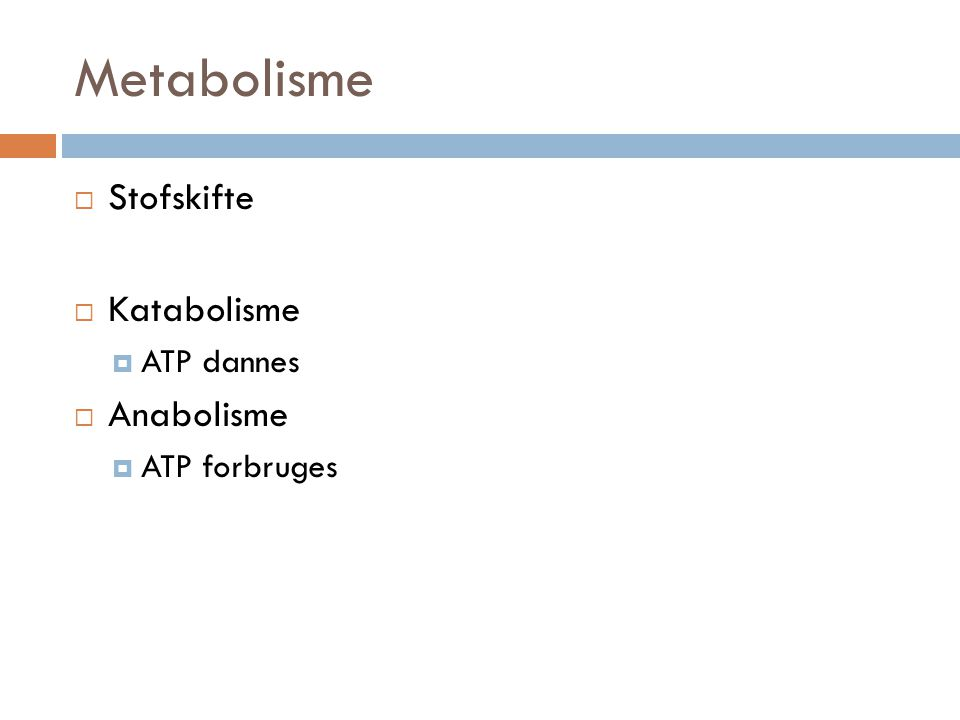 Metabolisme Stofskifte Katabolisme ATP dannes Anabolisme ATP forbruges