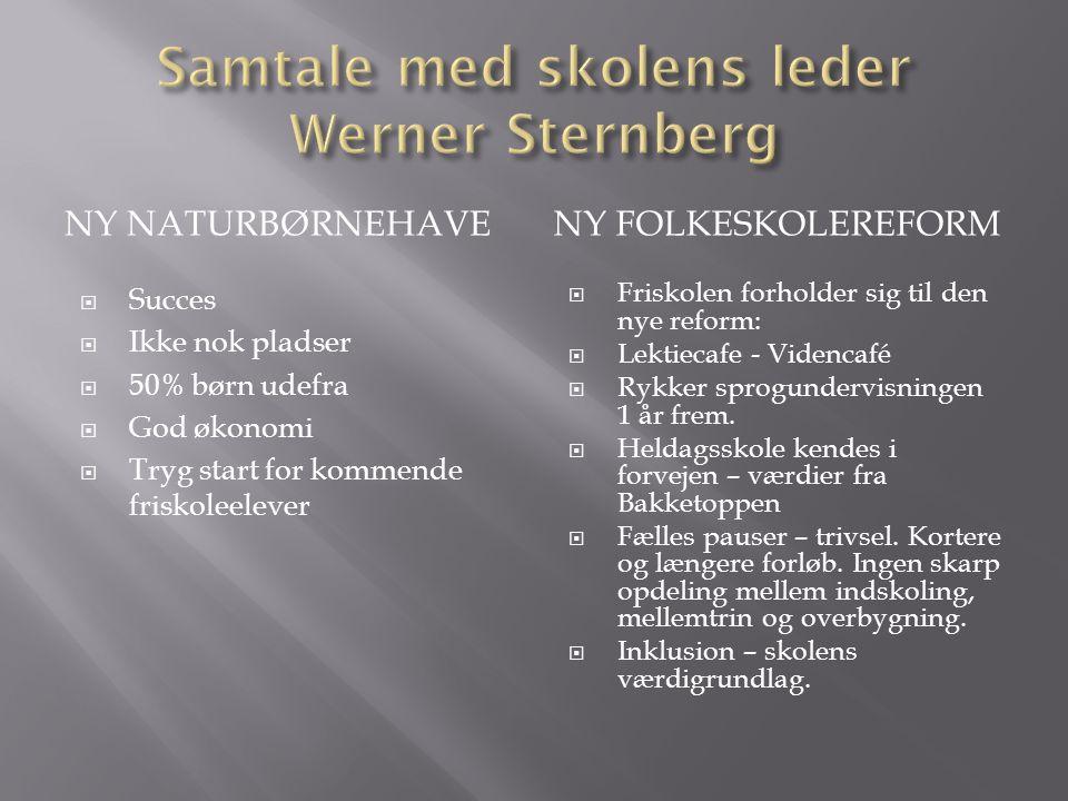 Samtale med skolens leder Werner Sternberg