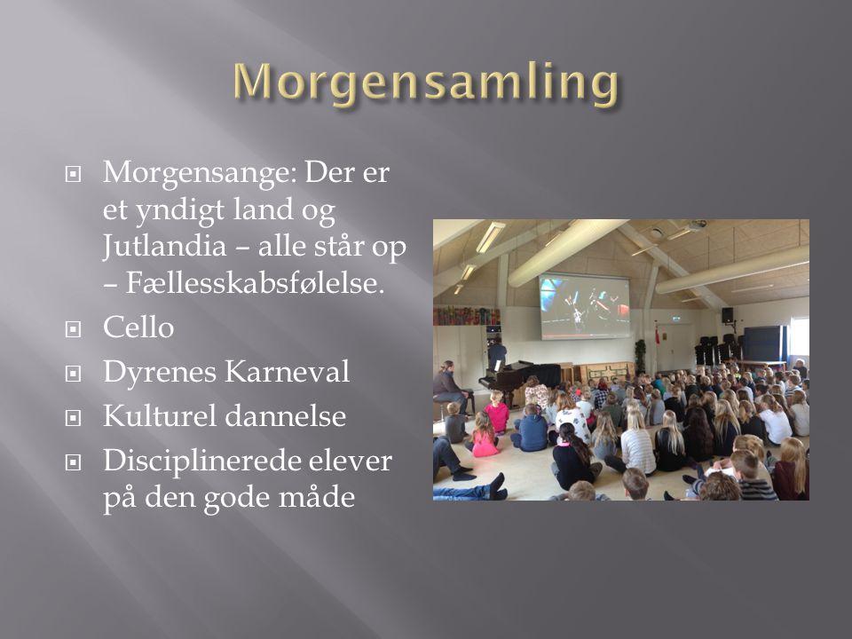 Morgensamling Morgensange: Der er et yndigt land og Jutlandia – alle står op – Fællesskabsfølelse. Cello.