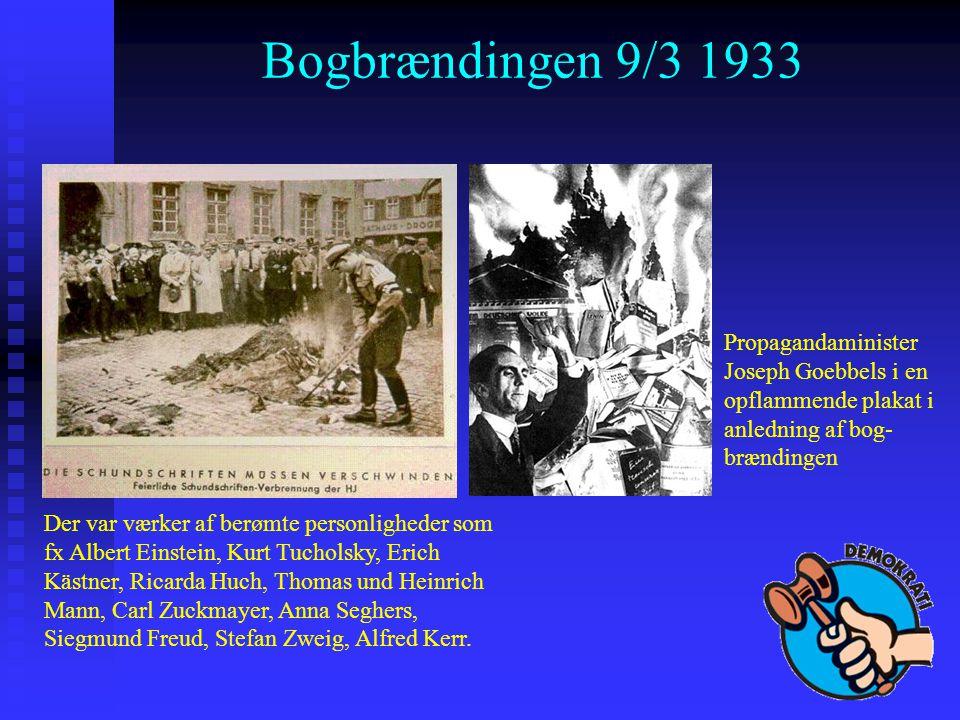 Bogbrændingen 9/3 1933 Propagandaminister Joseph Goebbels i en opflammende plakat i anledning af bog-brændingen.