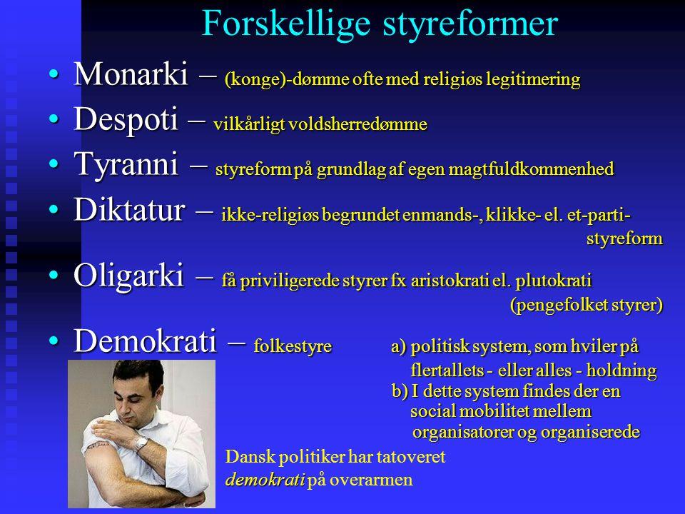 Forskellige styreformer