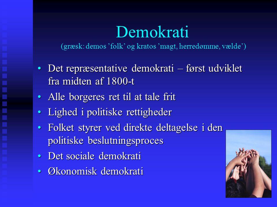 Demokrati (græsk: demos 'folk' og kratos 'magt, herredømme, vælde')