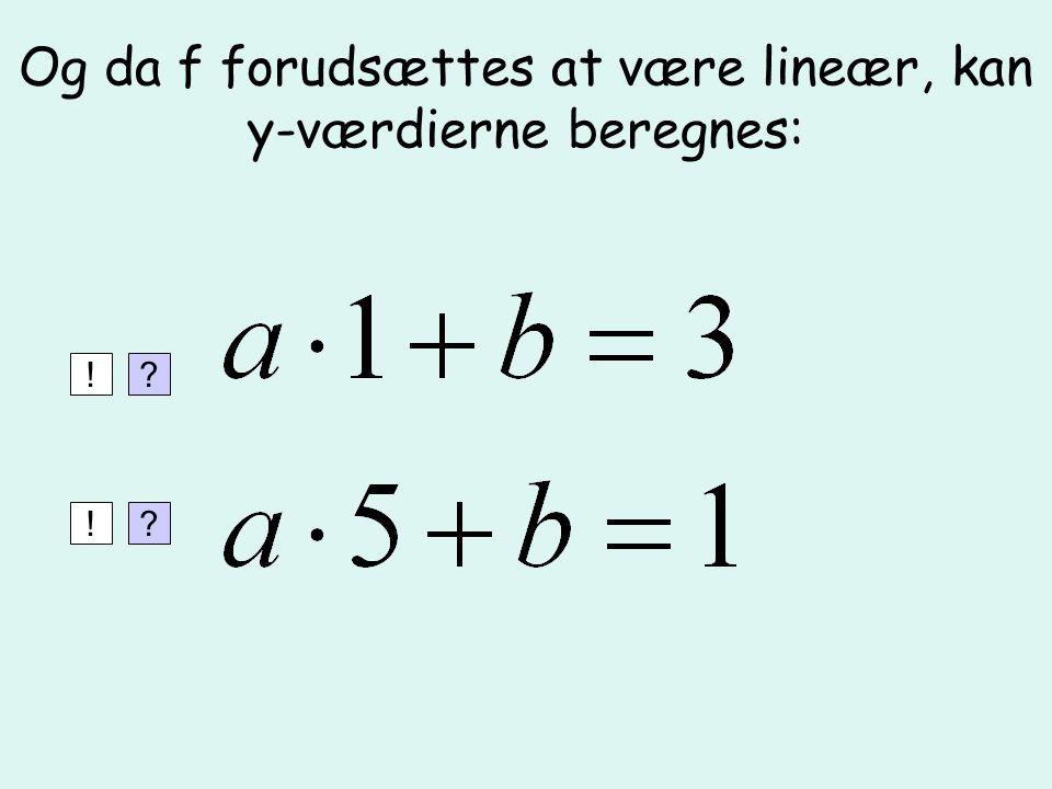 Og da f forudsættes at være lineær, kan y-værdierne beregnes: