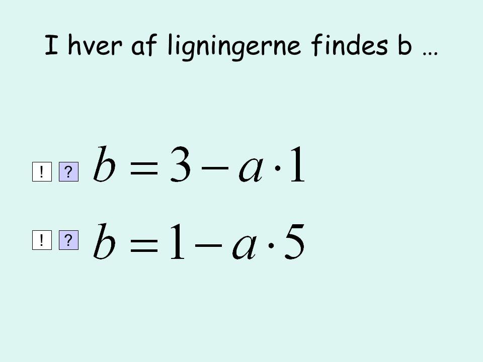 I hver af ligningerne findes b …