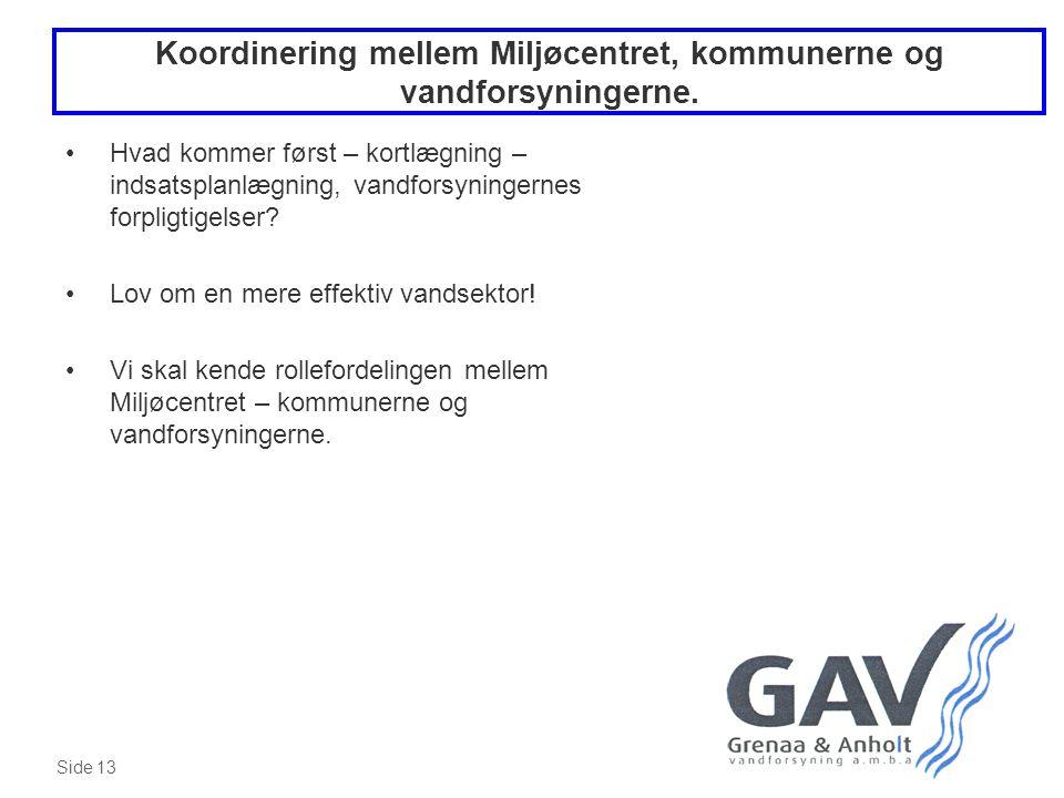Koordinering mellem Miljøcentret, kommunerne og vandforsyningerne.