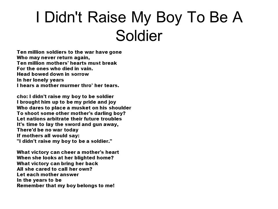 I Didn t Raise My Boy To Be A Soldier