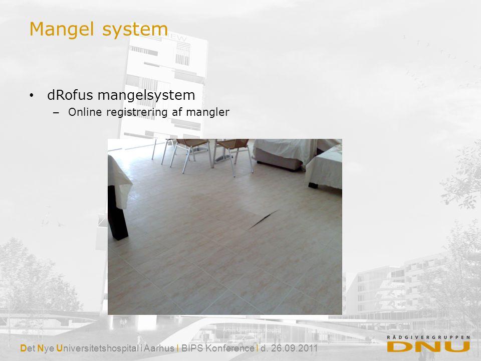 Mangel system dRofus mangelsystem Online registrering af mangler
