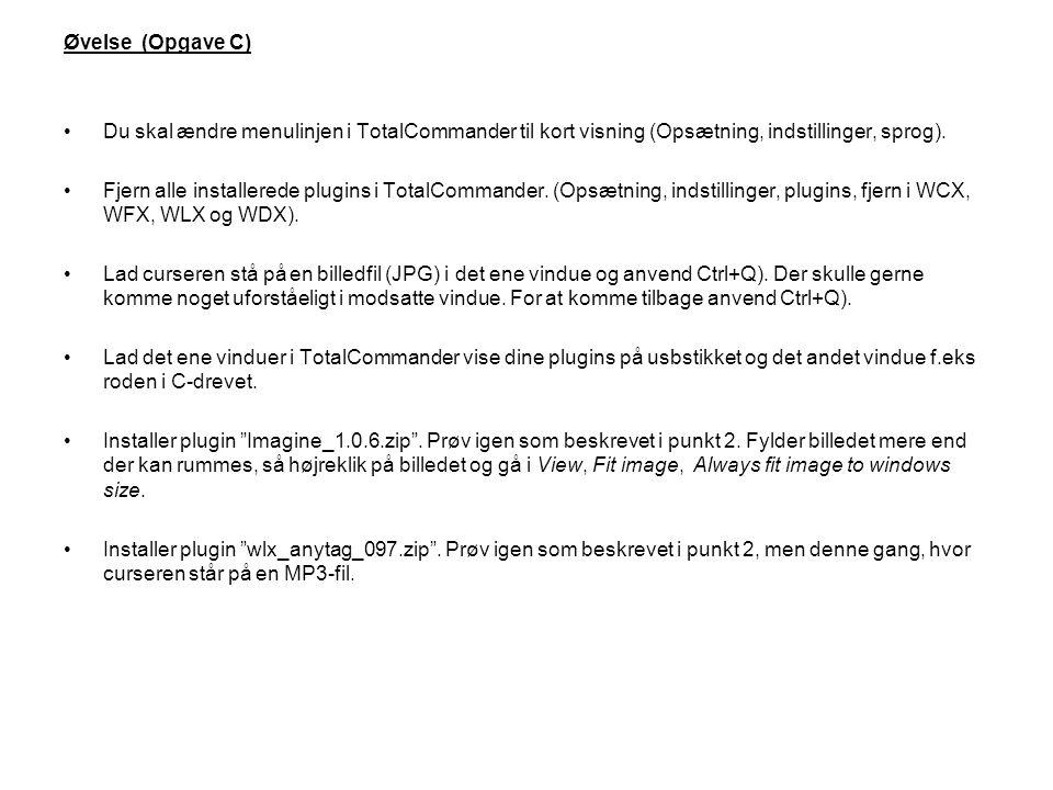 Øvelse (Opgave C) Du skal ændre menulinjen i TotalCommander til kort visning (Opsætning, indstillinger, sprog).