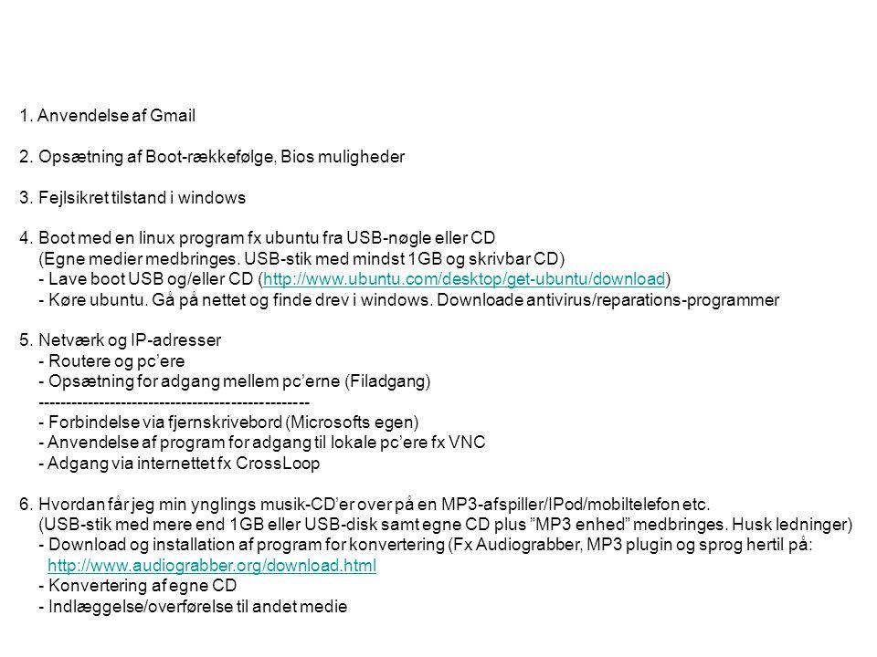 1. Anvendelse af Gmail 2. Opsætning af Boot-rækkefølge, Bios muligheder. 3. Fejlsikret tilstand i windows.
