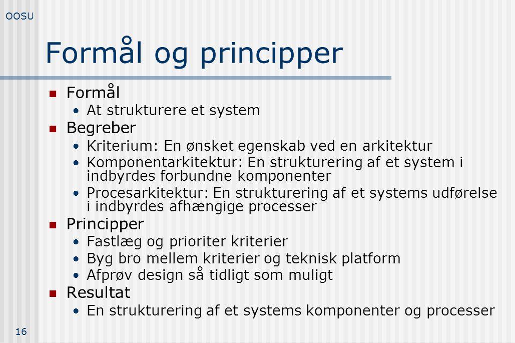 Formål og principper Formål Begreber Principper Resultat