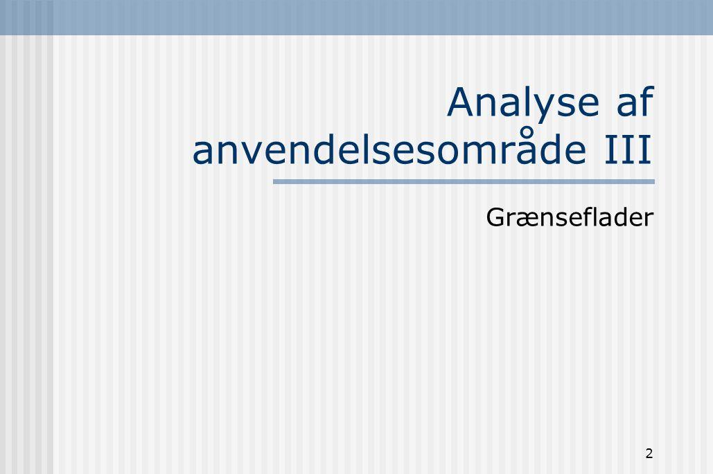 Analyse af anvendelsesområde III
