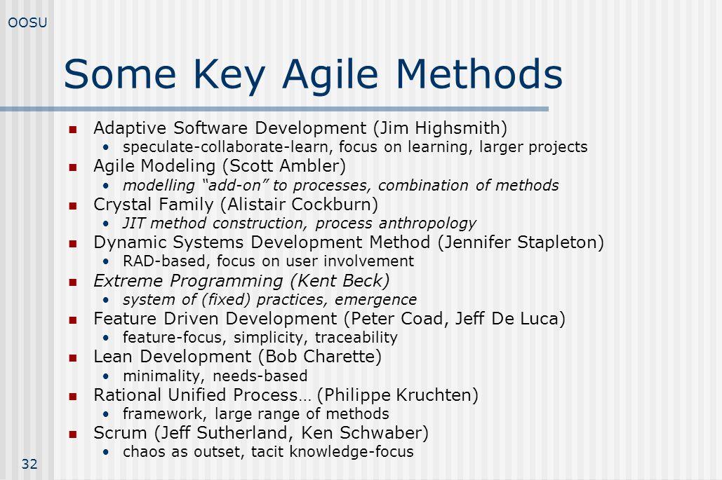 Some Key Agile Methods Adaptive Software Development (Jim Highsmith)