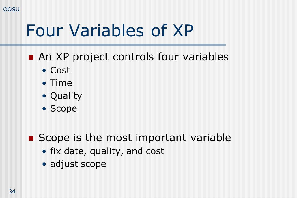 Four Variables of XP An XP project controls four variables