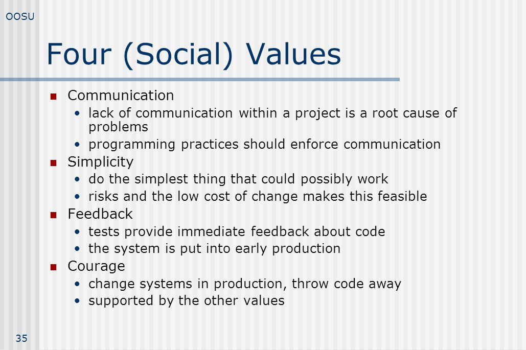 Four (Social) Values Communication Simplicity Feedback Courage