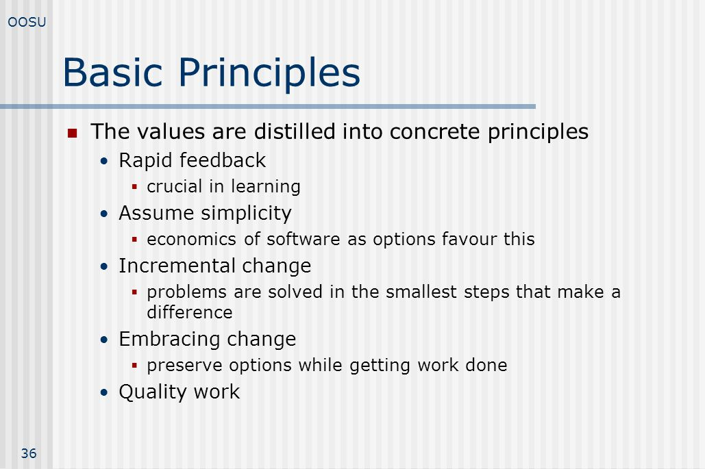 Basic Principles The values are distilled into concrete principles