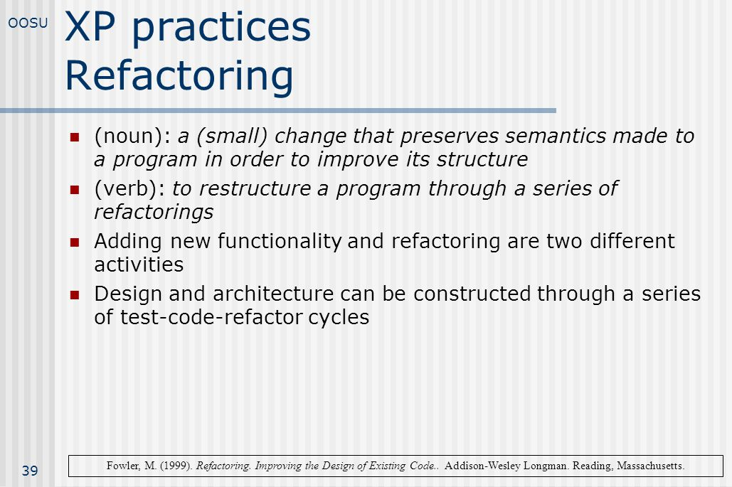 XP practices Refactoring