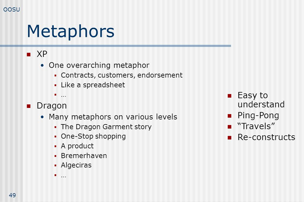 Metaphors XP Dragon Easy to understand Ping-Pong Travels
