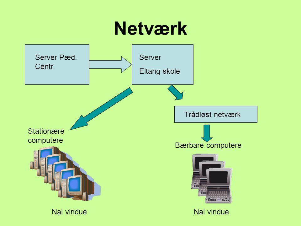 Netværk Server Pæd. Centr. Server Eltang skole Trådløst netværk