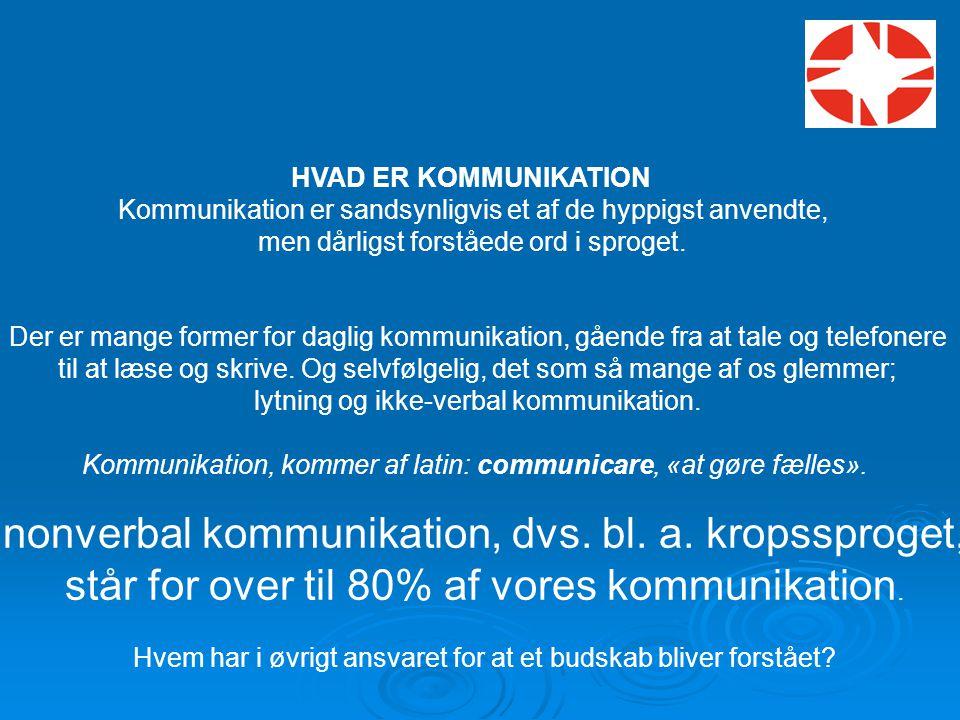 nonverbal kommunikation, dvs. bl. a. kropssproget,