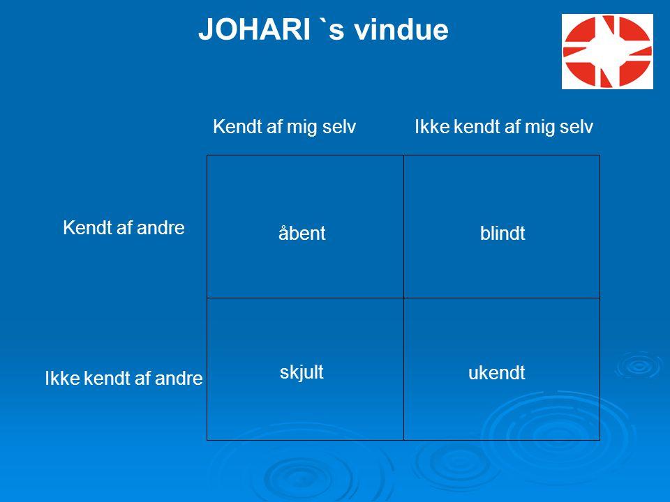 JOHARI `s vindue Kendt af mig selv Ikke kendt af mig selv
