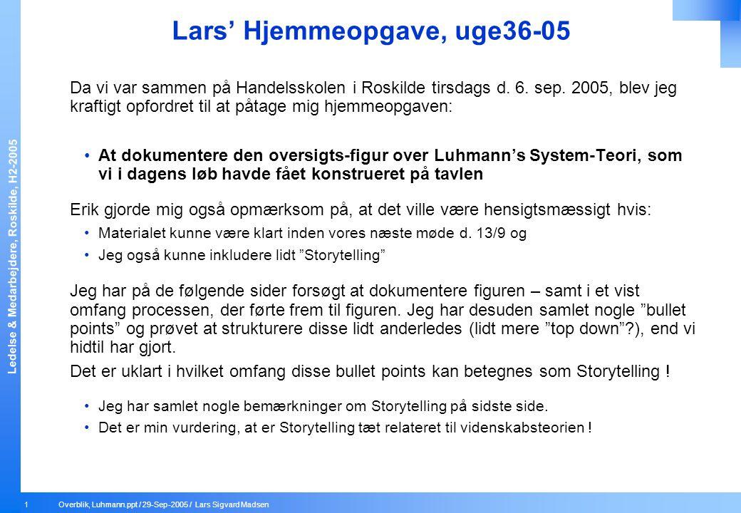 Lars' Hjemmeopgave, uge36-05
