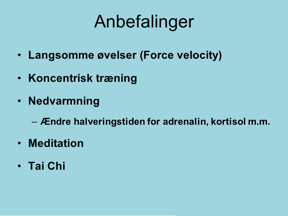 Anbefalinger Langsomme øvelser (Force velocity) Koncentrisk træning