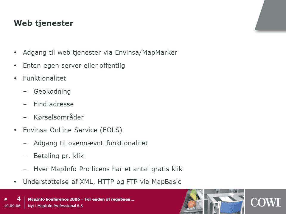 Web tjenester Adgang til web tjenester via Envinsa/MapMarker