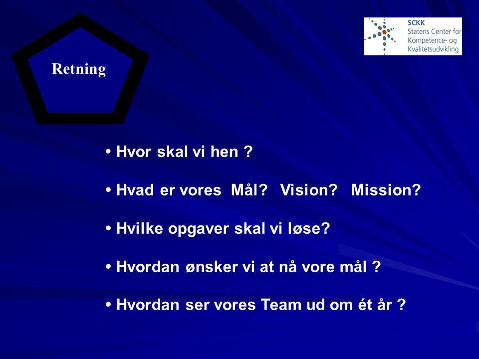 Retning  Hvor skal vi hen  Hvad er vores Mål Vision Mission  Hvilke opgaver skal vi løse