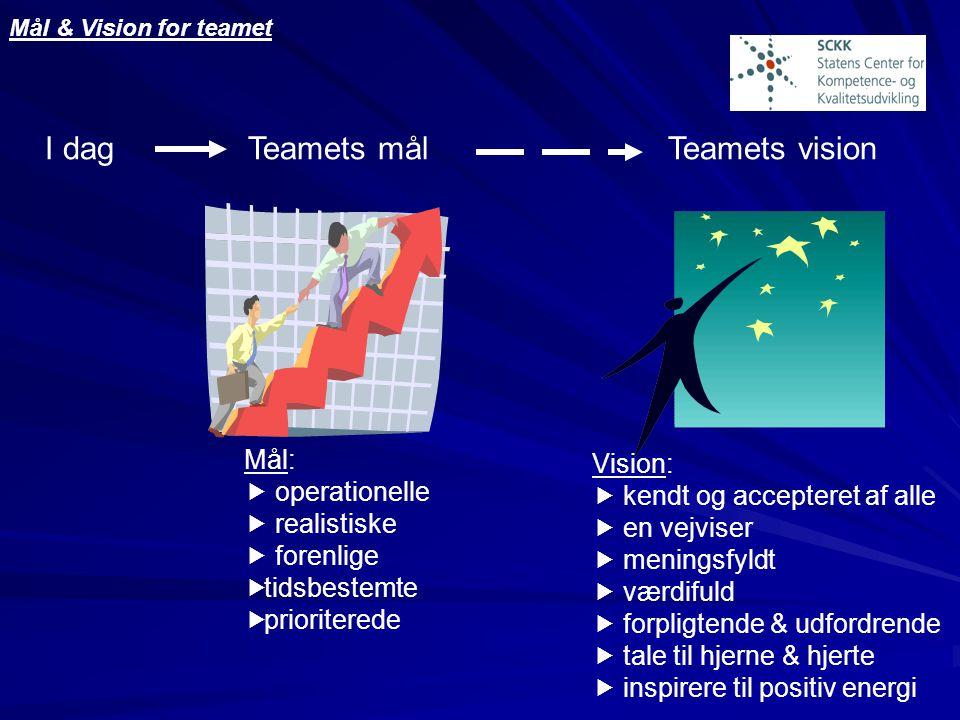 I dag Teamets mål Teamets vision