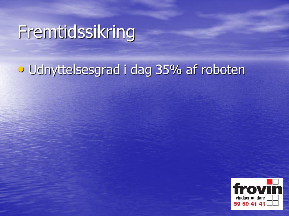 Fremtidssikring Udnyttelsesgrad i dag 35% af roboten