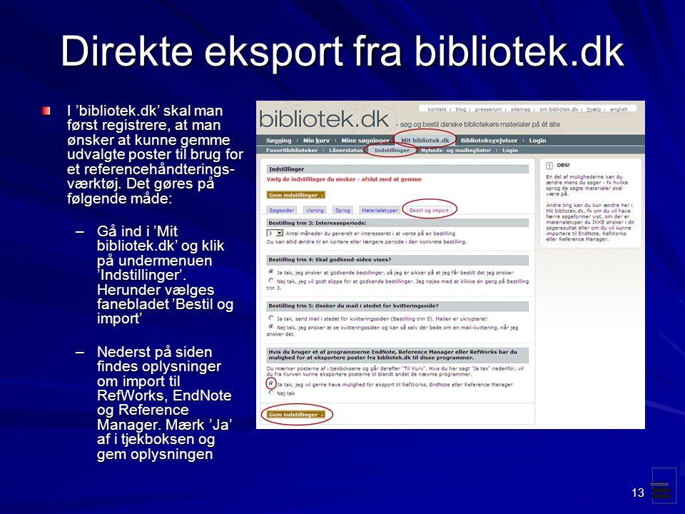Direkte eksport fra bibliotek.dk