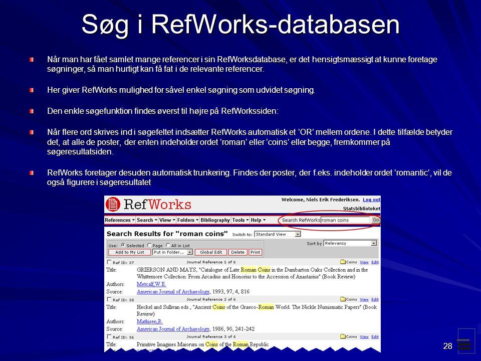 Søg i RefWorks-databasen