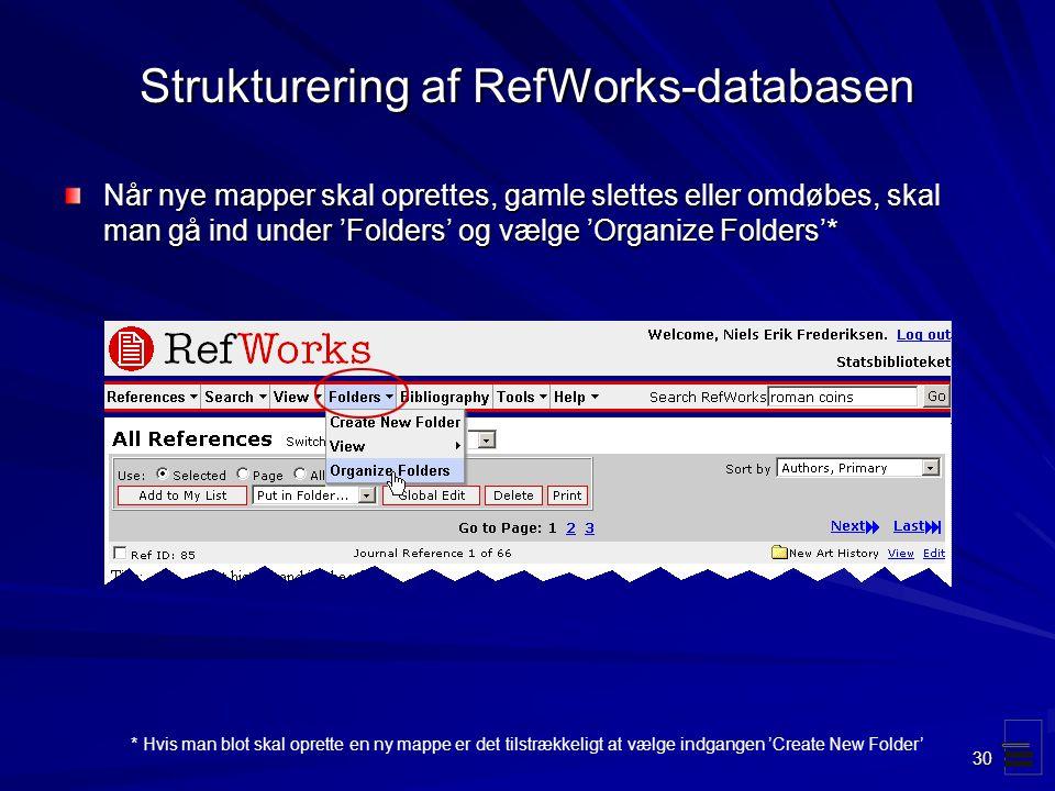 Strukturering af RefWorks-databasen