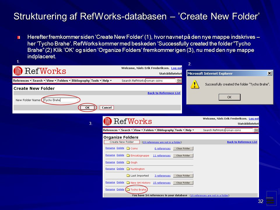 Strukturering af RefWorks-databasen – 'Create New Folder'