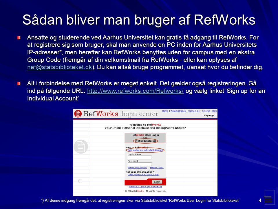 Sådan bliver man bruger af RefWorks
