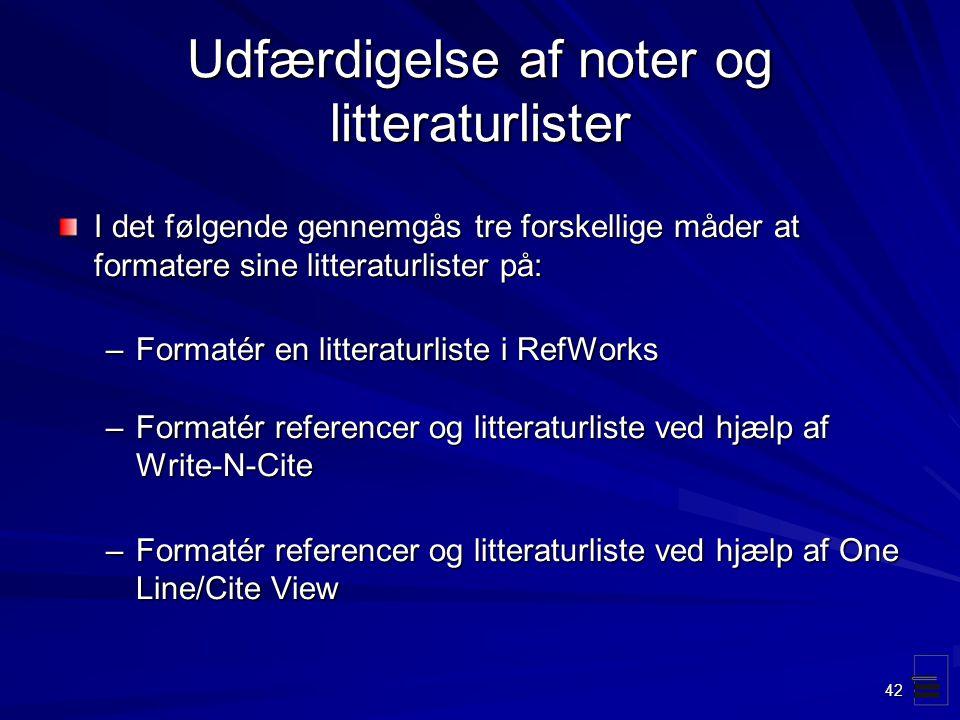 Udfærdigelse af noter og litteraturlister