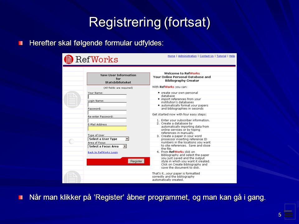 Registrering (fortsat)