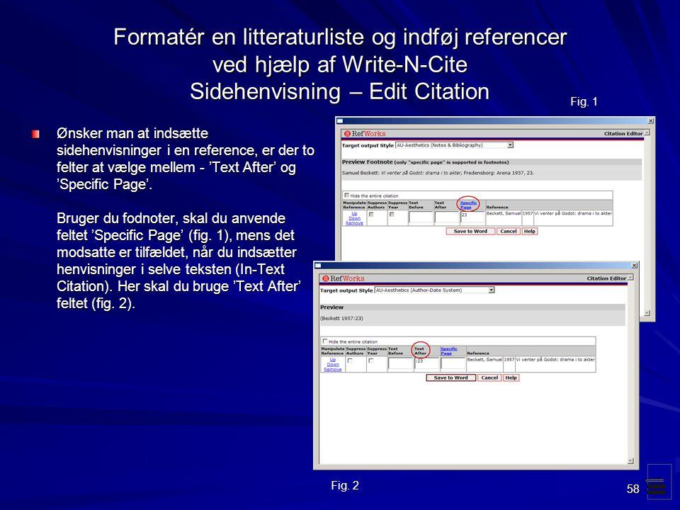 Formatér en litteraturliste og indføj referencer ved hjælp af Write-N-Cite Sidehenvisning – Edit Citation