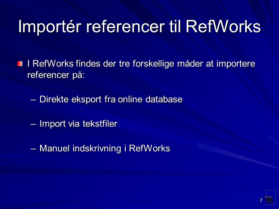 Importér referencer til RefWorks