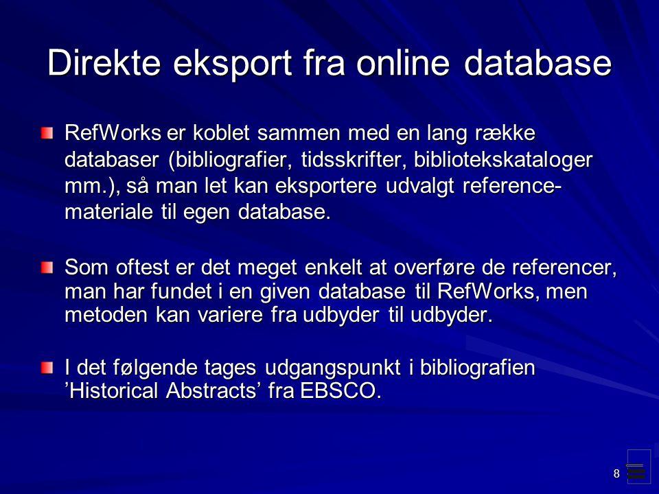 Direkte eksport fra online database