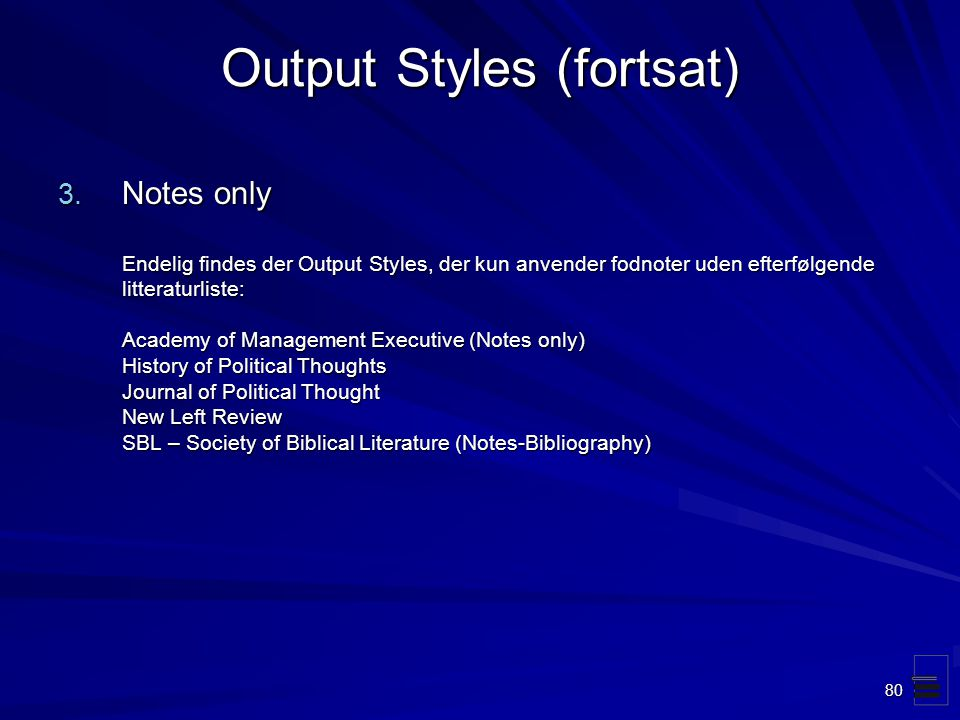 Output Styles (fortsat)