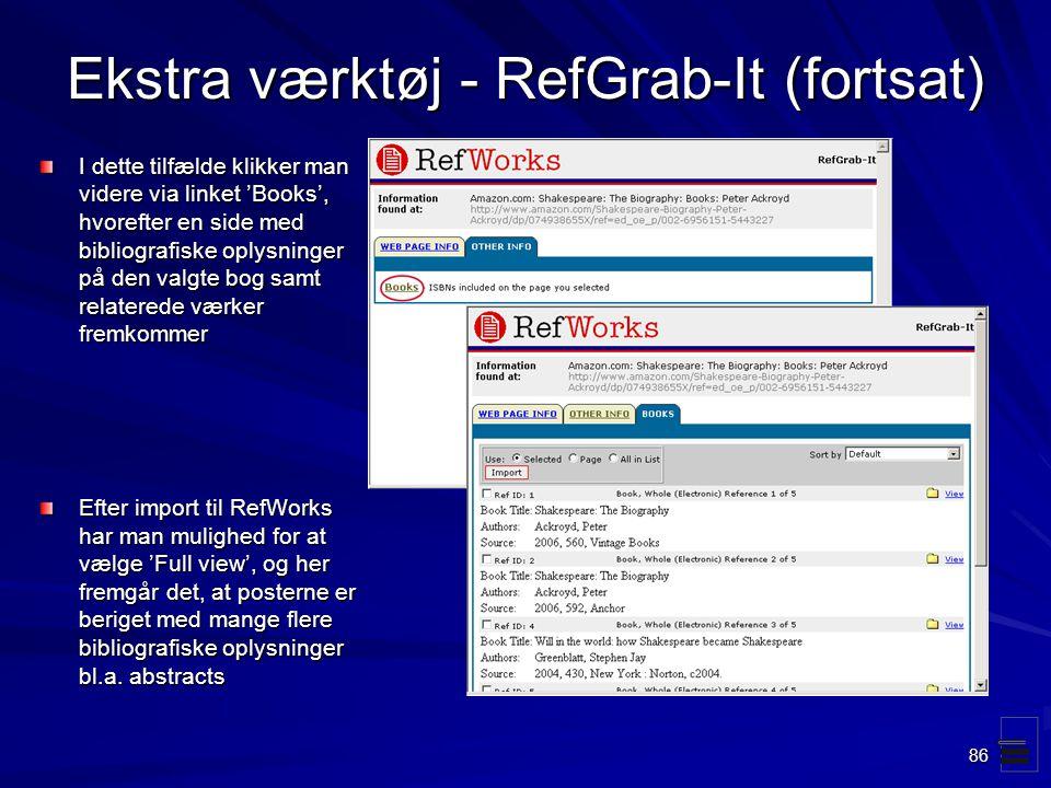 Ekstra værktøj - RefGrab-It (fortsat)