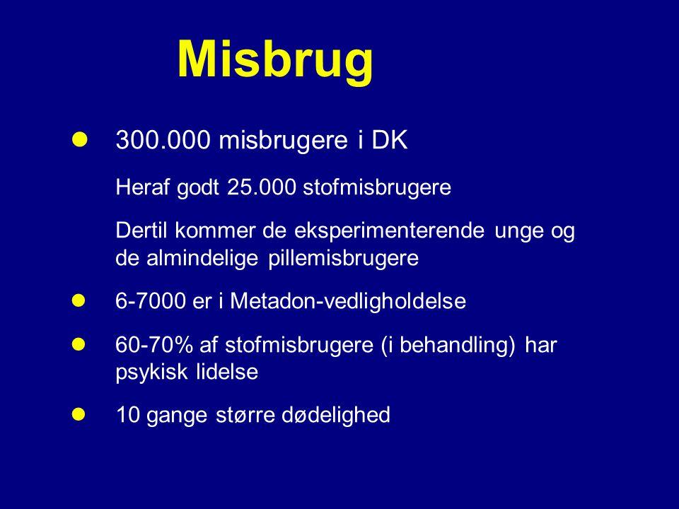 Misbrug 300.000 misbrugere i DK Heraf godt 25.000 stofmisbrugere