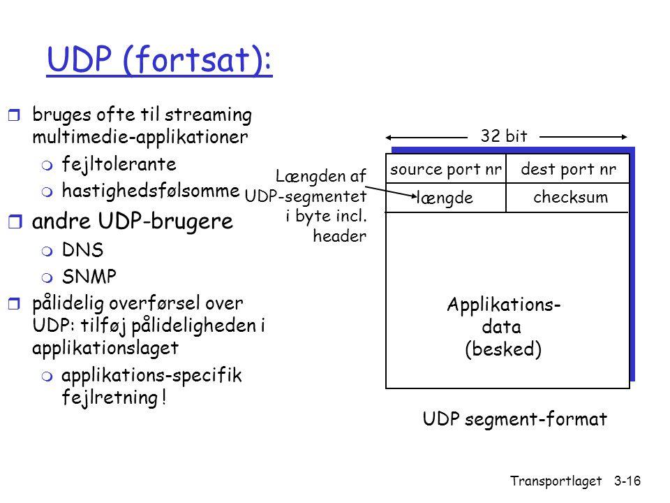 UDP (fortsat): andre UDP-brugere