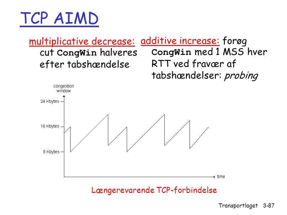 TCP AIMD multiplicative decrease: cut CongWin halveres efter tabshændelse.