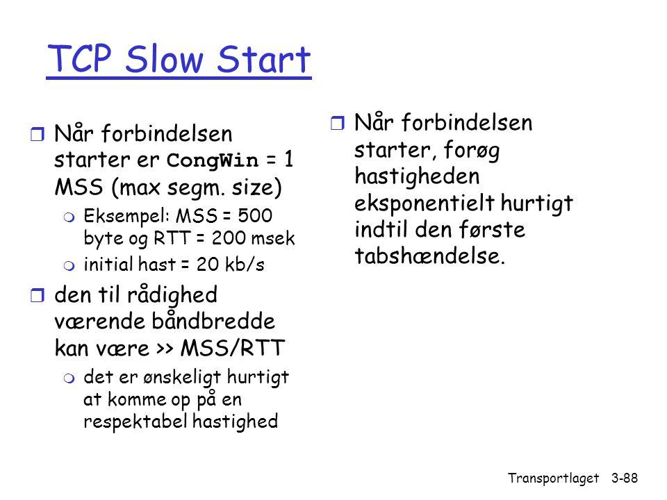 TCP Slow Start Når forbindelsen starter, forøg hastigheden eksponentielt hurtigt indtil den første tabshændelse.