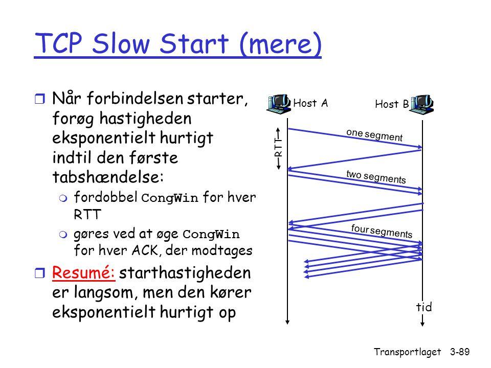 TCP Slow Start (mere) Når forbindelsen starter, forøg hastigheden eksponentielt hurtigt indtil den første tabshændelse: