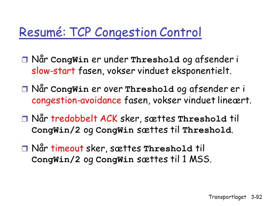 Resumé: TCP Congestion Control