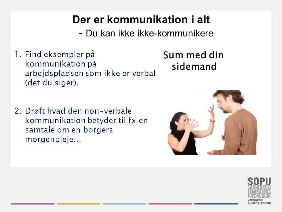 Der er kommunikation i alt - Du kan ikke ikke-kommunikere
